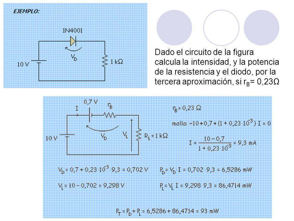Dado el circuito de la figura calcula la intensidad, y la potencia de la resistencia y el diodo, por la tercera aproximación, si r B = 0,23