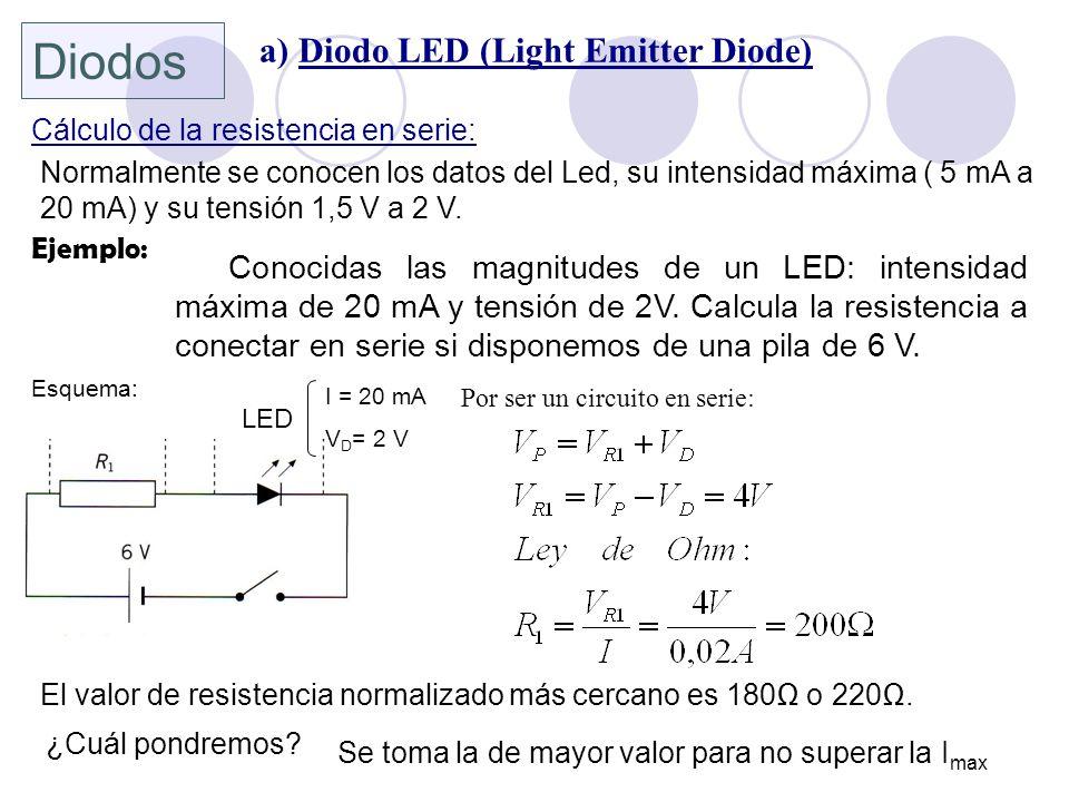 Cálculo de la resistencia en serie: Normalmente se conocen los datos del Led, su intensidad máxima ( 5 mA a 20 mA) y su tensión 1,5 V a 2 V. LED I = 2