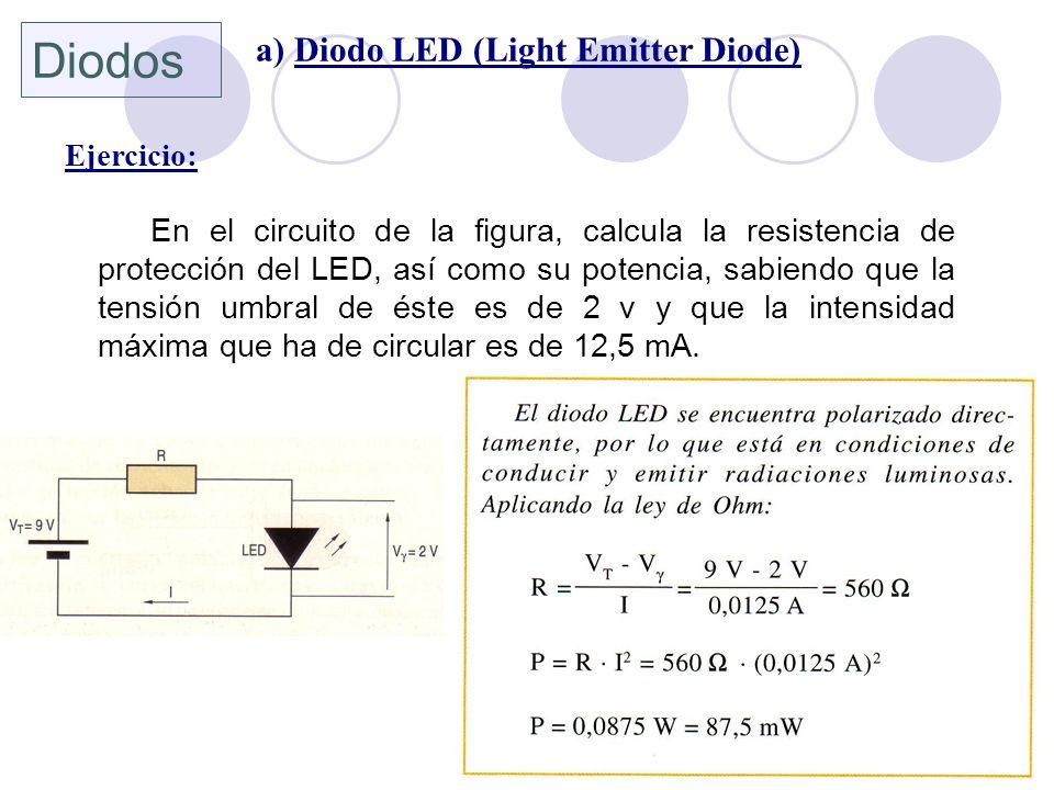 Diodos a) Diodo LED (Light Emitter Diode) Ejercicio: En el circuito de la figura, calcula la resistencia de protección del LED, así como su potencia,