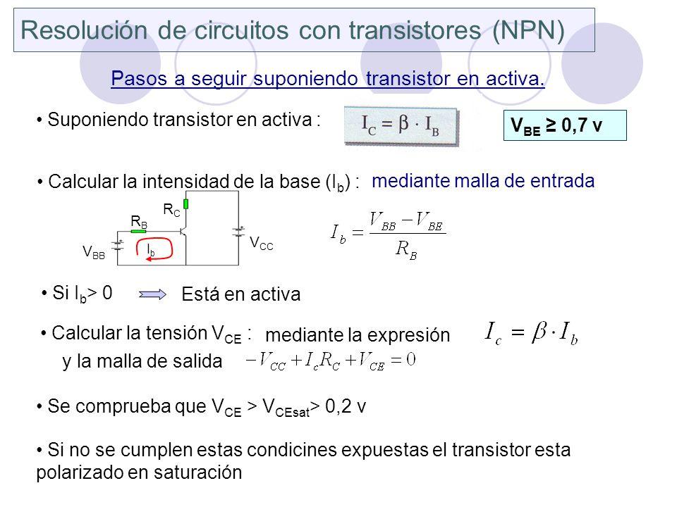 Resolución de circuitos con transistores (NPN) Pasos a seguir suponiendo transistor en activa. Suponiendo transistor en activa : V BE 0,7 v Calcular l