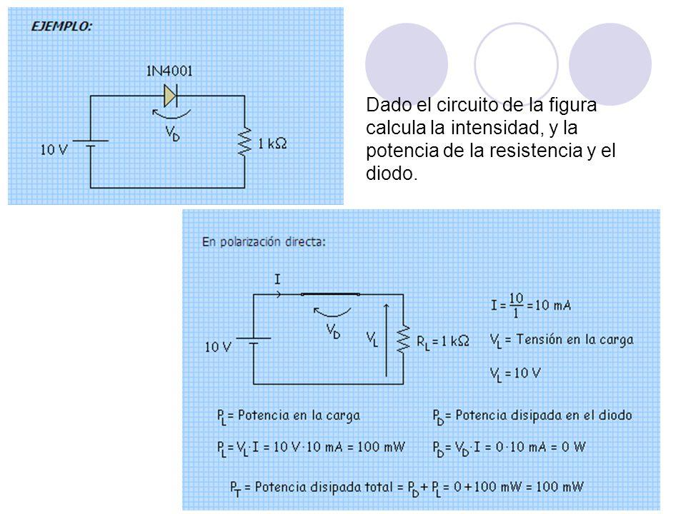Dado el circuito de la figura calcula la intensidad, y la potencia de la resistencia y el diodo.