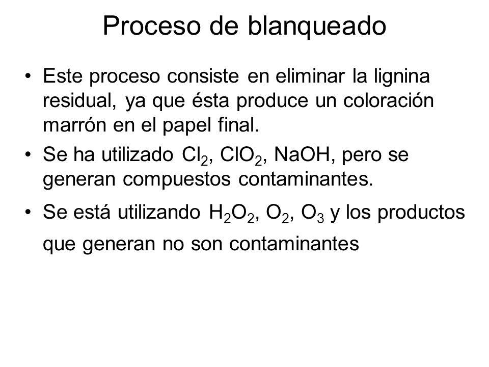 Proceso de blanqueado Este proceso consiste en eliminar la lignina residual, ya que ésta produce un coloración marrón en el papel final. Se ha utiliza