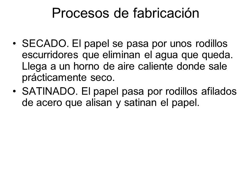 Procesos de fabricación SECADO. El papel se pasa por unos rodillos escurridores que eliminan el agua que queda. Llega a un horno de aire caliente dond