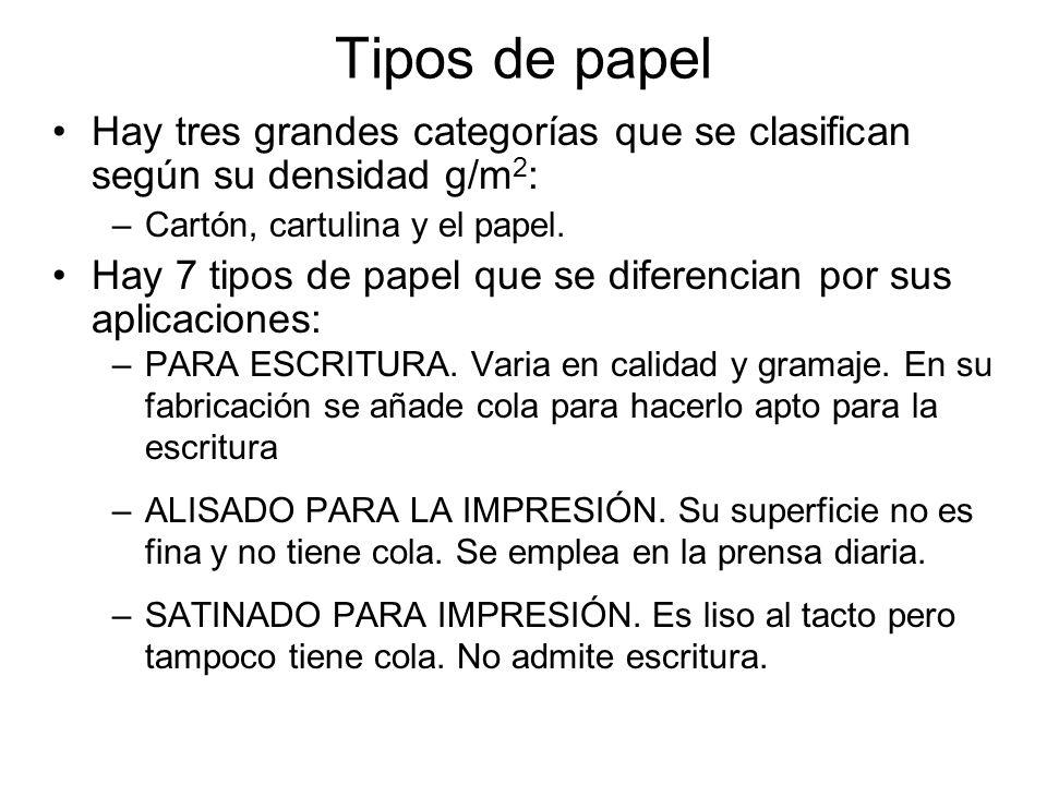 Tipos de papel Hay tres grandes categorías que se clasifican según su densidad g/m 2 : –Cartón, cartulina y el papel. Hay 7 tipos de papel que se dife