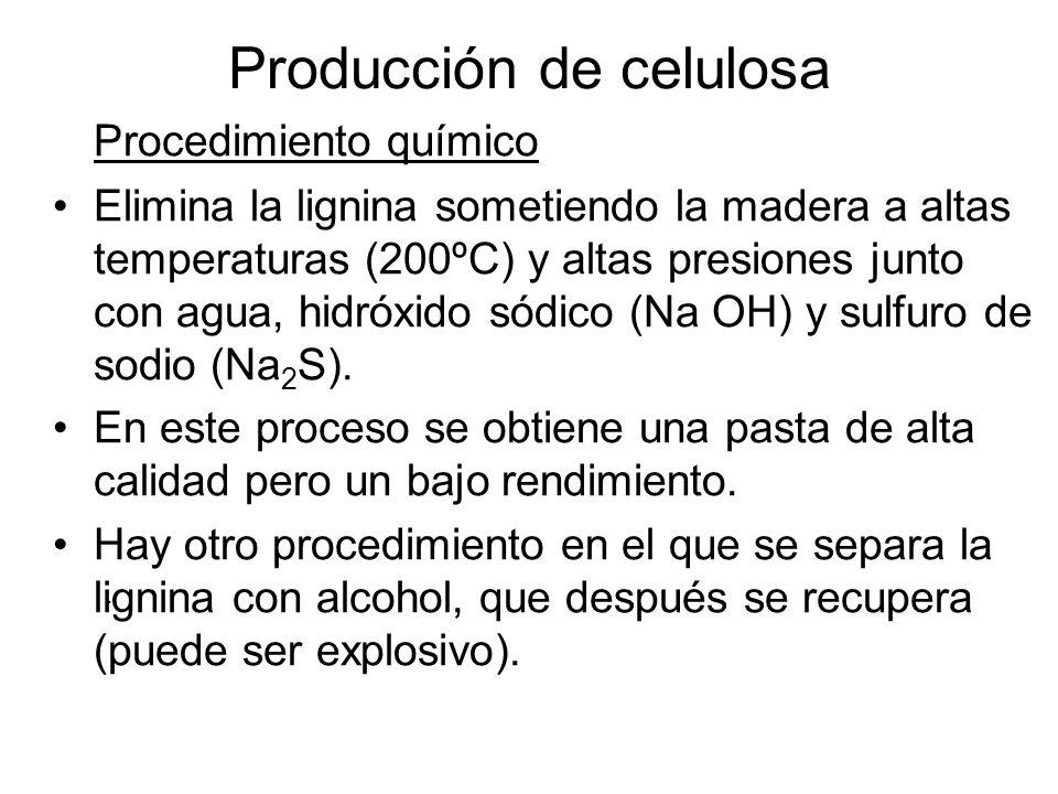 En el proceso se emiten: Gases sulfurados (ácido sulfídrico, sulfuro de dimetilo, disulfuro de dimetilo, óxidos de azufre) Líquidos producto de la degeneración de la lignina y fibras Sólidos como nudos de madera Producción de celulosa