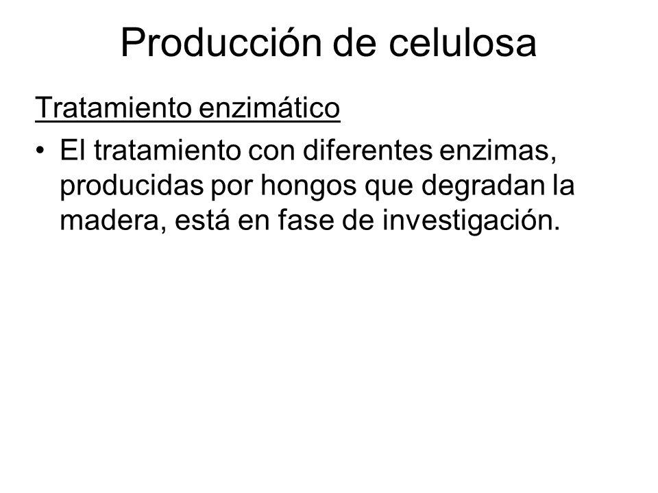 Tratamiento enzimático El tratamiento con diferentes enzimas, producidas por hongos que degradan la madera, está en fase de investigación. Producción