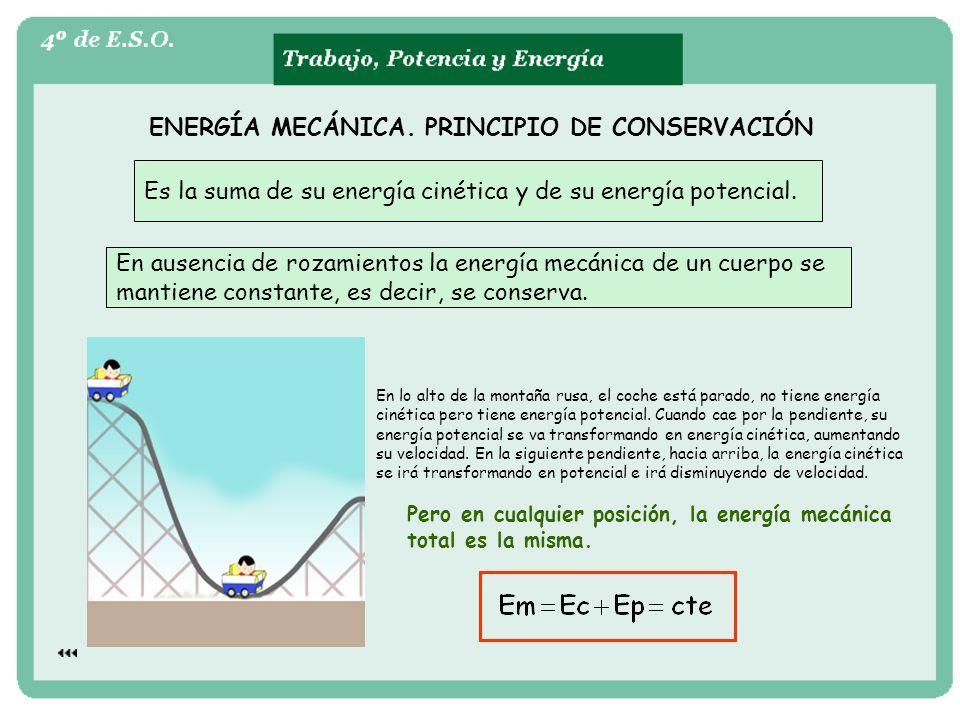 ENERGÍA MECÁNICA. PRINCIPIO DE CONSERVACIÓN Es la suma de su energía cinética y de su energía potencial. En ausencia de rozamientos la energía mecánic