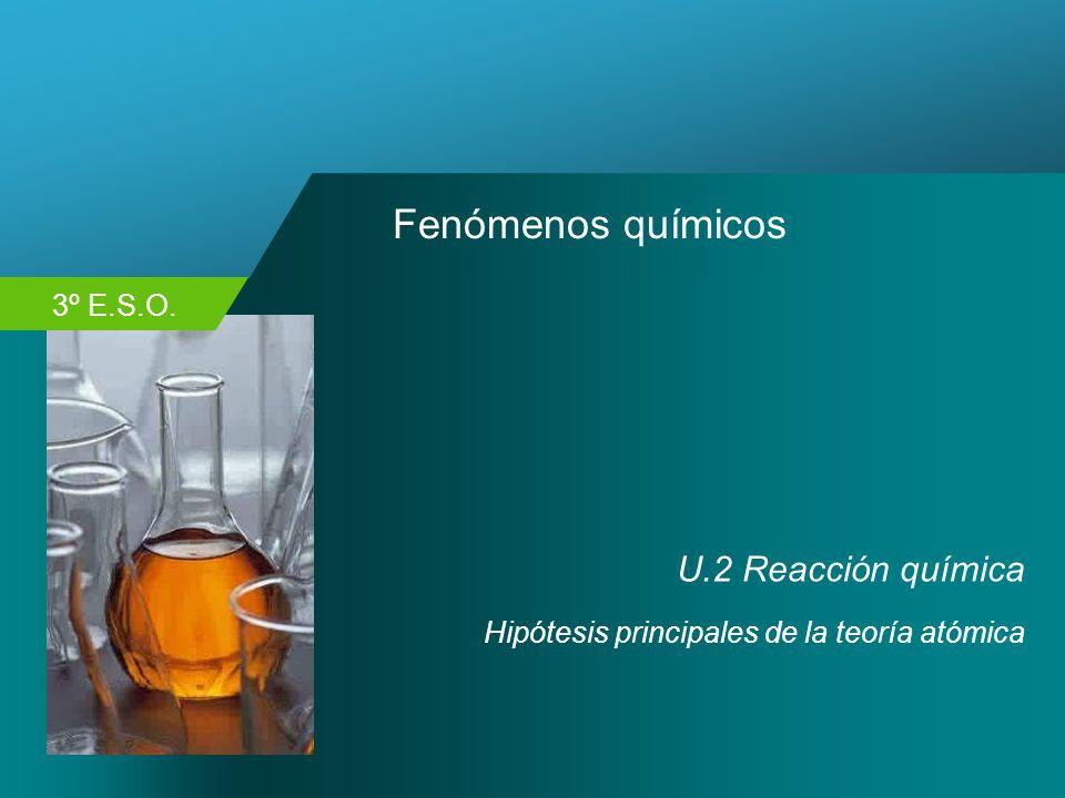 3º E.S.O. Fenómenos químicos U.2 Reacción química Hipótesis principales de la teoría atómica