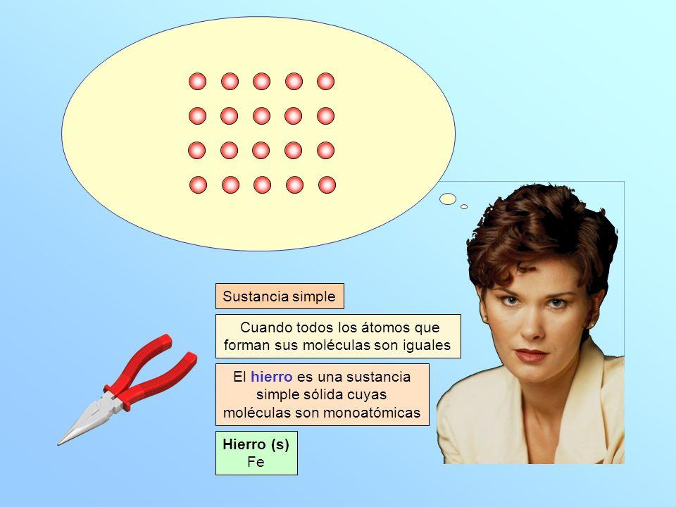 Hierro (s) Fe Cuando todos los átomos que forman sus moléculas son iguales Sustancia simple El hierro es una sustancia simple sólida cuyas moléculas son monoatómicas
