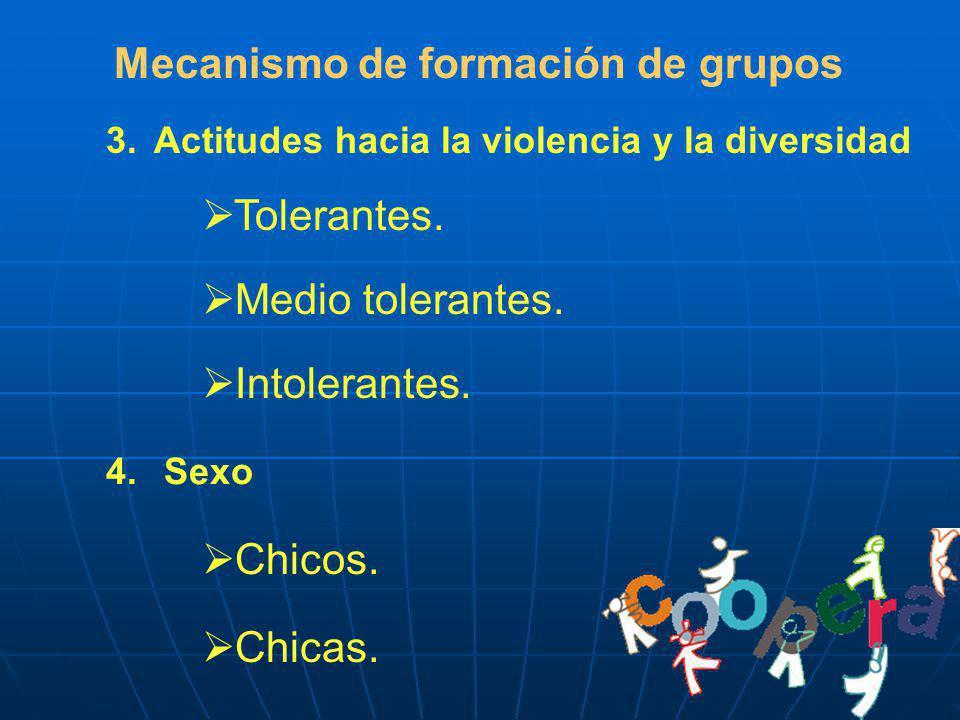 Mecanismo de formación de grupos 3.Actitudes hacia la violencia y la diversidad Tolerantes. Medio tolerantes. Intolerantes. 4. Sexo Chicos. Chicas.