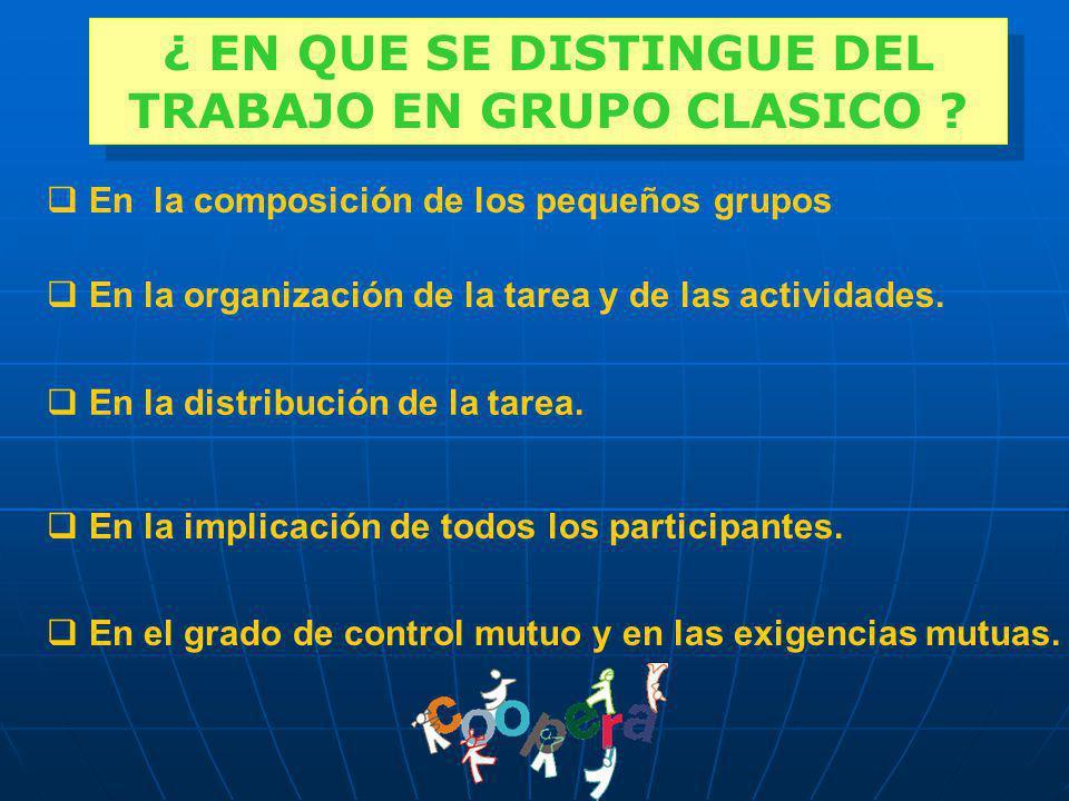 En el grado de control mutuo y en las exigencias mutuas. En la composición de los pequeños grupos En la organización de la tarea y de las actividades.
