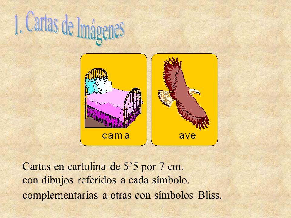 Cartas en cartulina de 55 por 7 cm. con dibujos referidos a cada símbolo. complementarias a otras con símbolos Bliss.