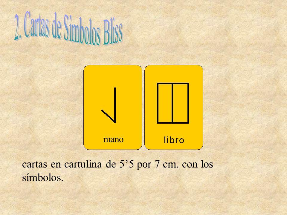 cartas en cartulina de 55 por 7 cm. con los símbolos. mano