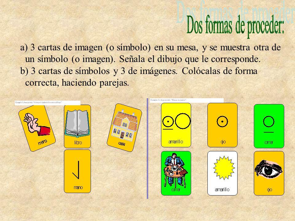 a) 3 cartas de imagen (o símbolo) en su mesa, y se muestra otra de un símbolo (o imagen). Señala el dibujo que le corresponde. b) 3 cartas de símbolos