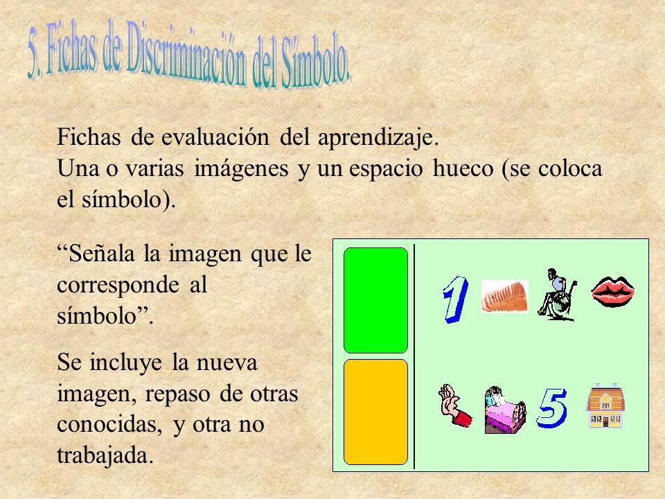 Fichas de evaluación del aprendizaje. Una o varias imágenes y un espacio hueco (se coloca el símbolo). Señala la imagen que le corresponde al símbolo.