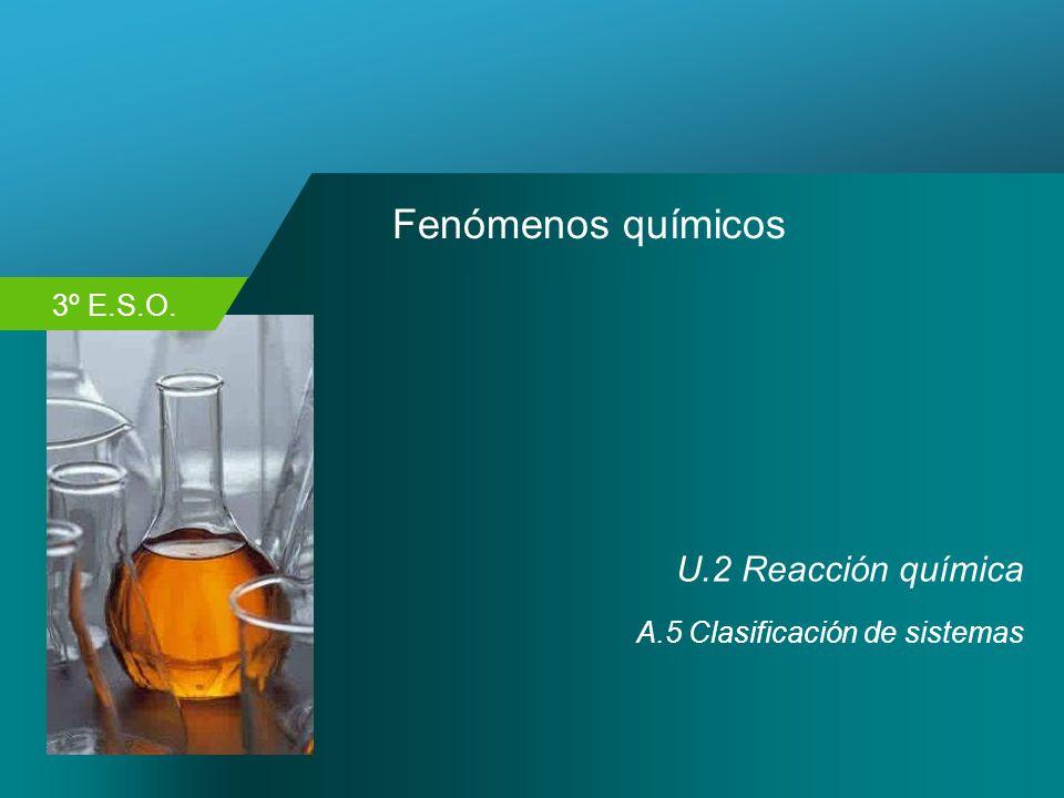 3º E.S.O. Fenómenos químicos U.2 Reacción química A.5 Clasificación de sistemas