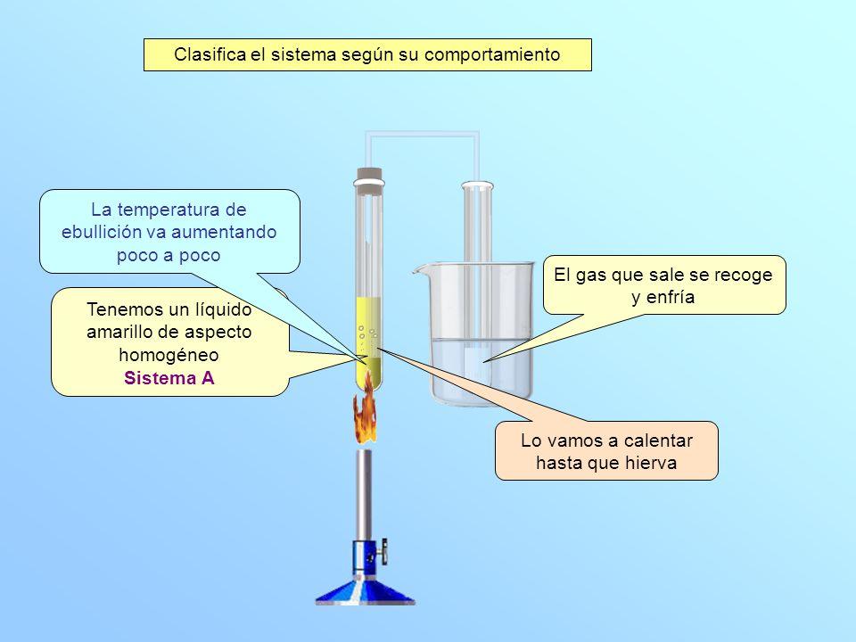 Tenemos un líquido amarillo de aspecto homogéneo Sistema A Lo vamos a calentar hasta que hierva La temperatura de ebullición va aumentando poco a poco Clasifica el sistema según su comportamiento El gas que sale se recoge y enfría