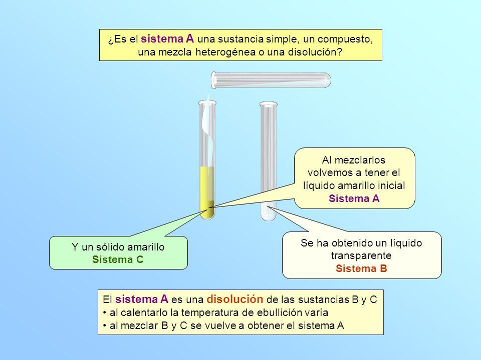 Se ha obtenido un líquido transparente Sistema B Y un sólido amarillo Sistema C Al mezclarlos volvemos a tener el líquido amarillo inicial Sistema A ¿Es el sistema A una sustancia simple, un compuesto, una mezcla heterogénea o una disolución.
