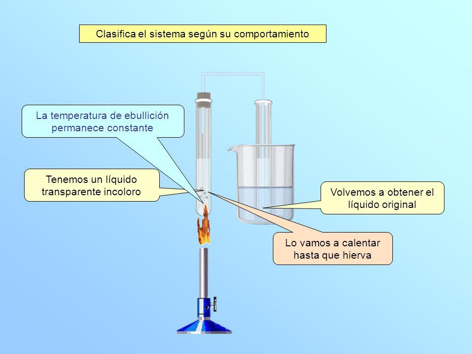 Tenemos un líquido transparente incoloro Lo vamos a calentar hasta que hierva La temperatura de ebullición permanece constante Volvemos a obtener el líquido original Clasifica el sistema según su comportamiento