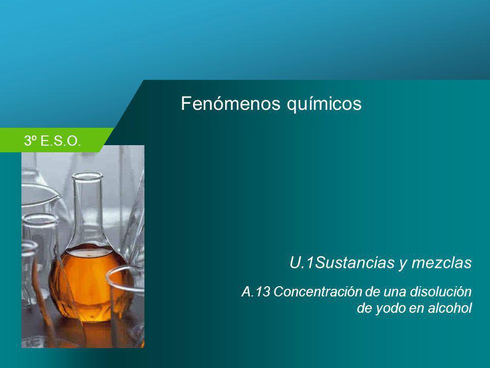 3º E.S.O. Fenómenos químicos U.1Sustancias y mezclas A.13 Concentración de una disolución de yodo en alcohol