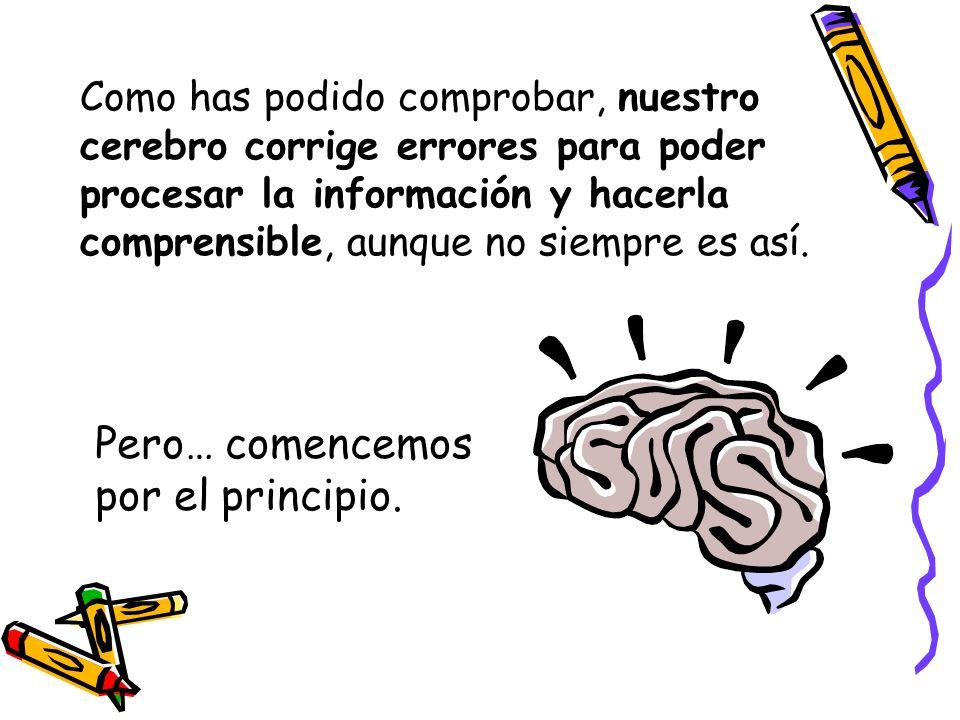 Como has podido comprobar, nuestro cerebro corrige errores para poder procesar la información y hacerla comprensible, aunque no siempre es así.