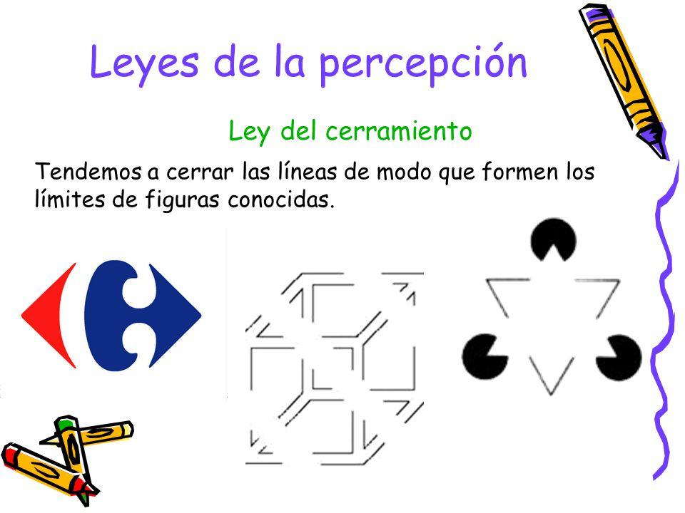 Leyes de la percepción Cuando vemos elementos diferentes, tendemos a formar grupos con los que son iguales. Ley de igualdad