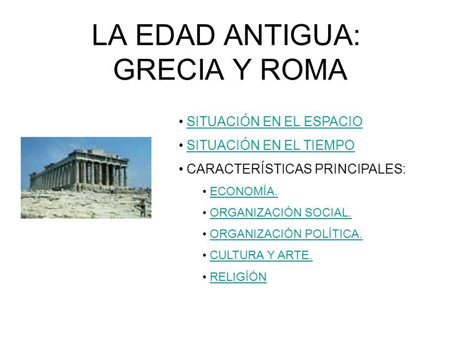 LA EDAD ANTIGUA: GRECIA Y ROMA SITUACIÓN EN EL ESPACIO SITUACIÓN EN EL TIEMPO CARACTERÍSTICAS PRINCIPALES: ECONOMÍA. ORGANIZACIÓN SOCIAL. ORGANIZACIÓN