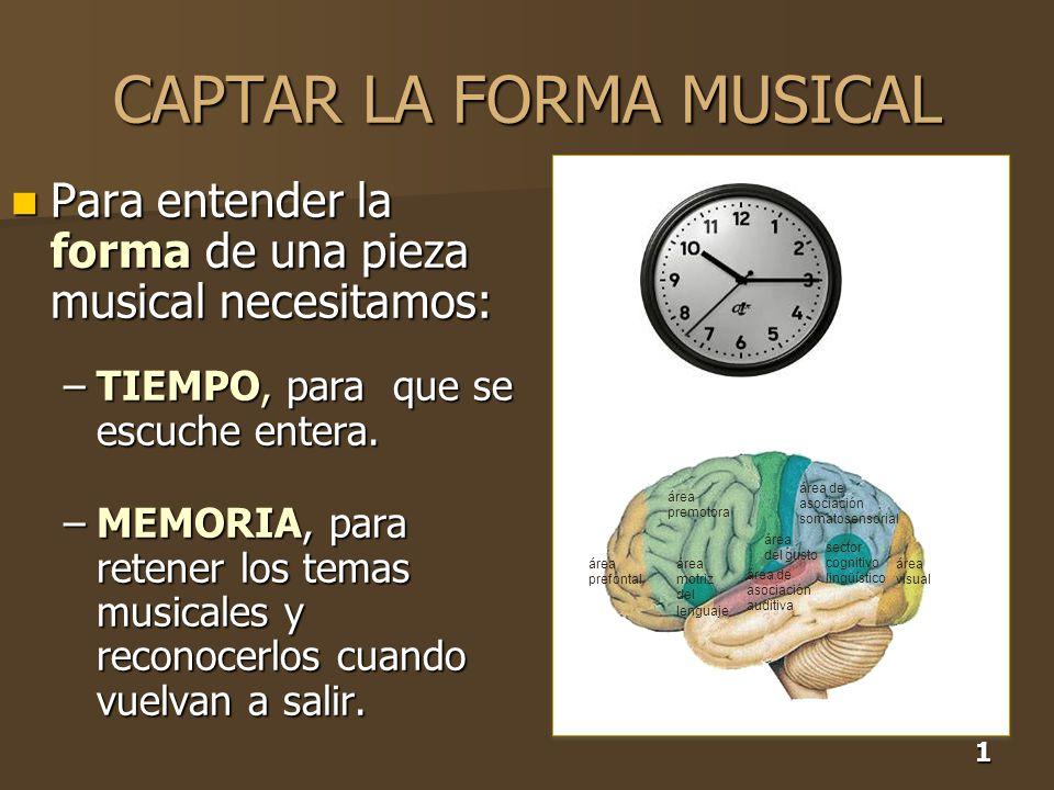 1 CAPTAR LA FORMA MUSICAL Para entender la forma de una pieza musical necesitamos: Para entender la forma de una pieza musical necesitamos: –TIEMPO, p