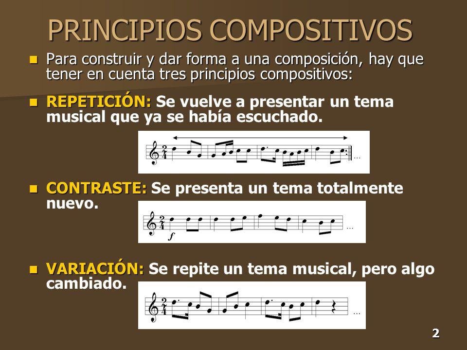 2 PRINCIPIOS COMPOSITIVOS Para construir y dar forma a una composición, hay que tener en cuenta tres principios compositivos: Para construir y dar for