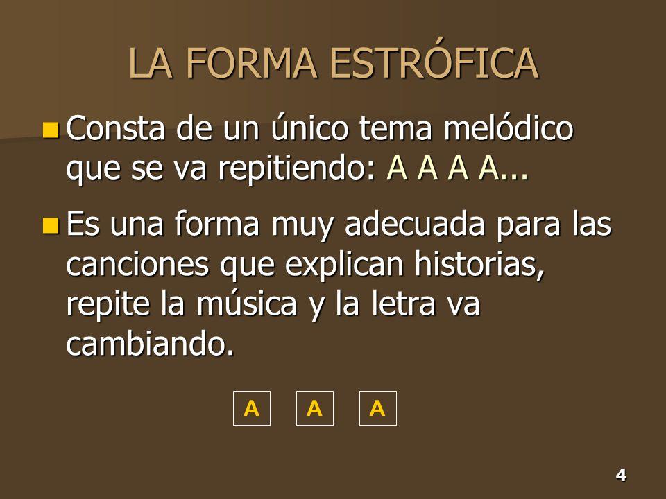 4 LA FORMA ESTRÓFICA Consta de un único tema melódico que se va repitiendo: A A A A... Consta de un único tema melódico que se va repitiendo: A A A A.