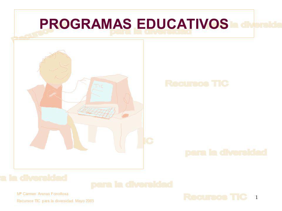 1 PROGRAMAS EDUCATIVOS Mª Carmen Arenas Fonollosa Recursos TIC para la diversidad. Mayo 2005
