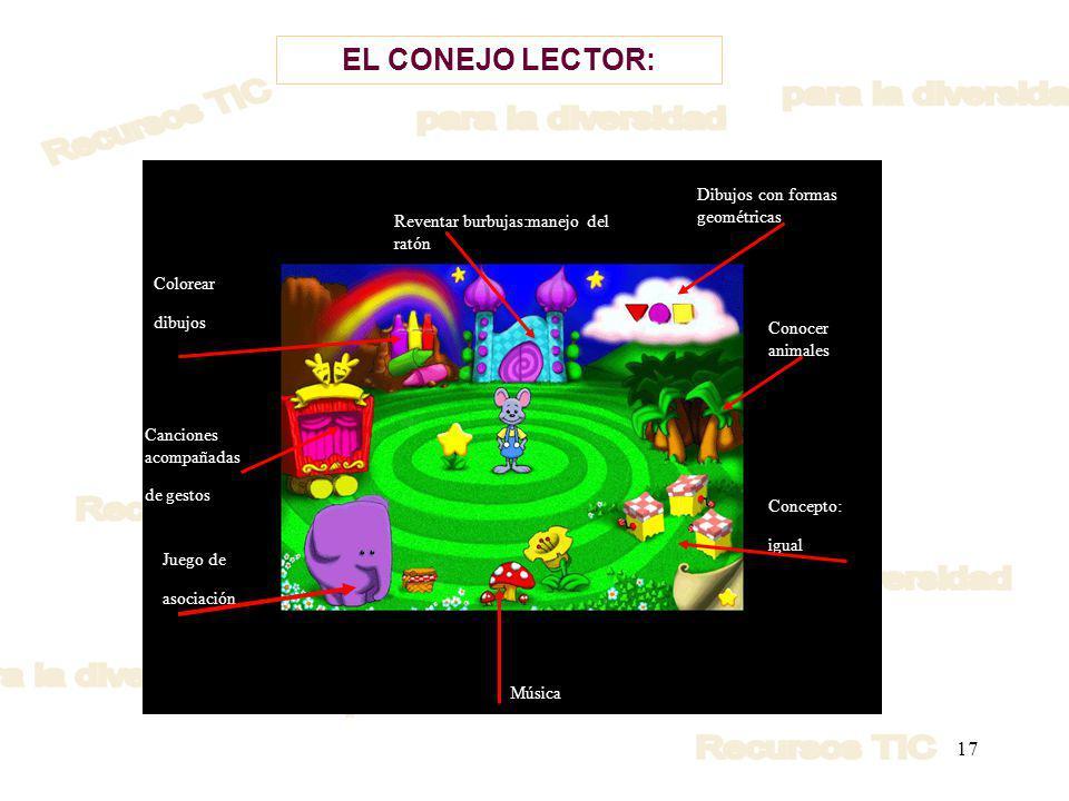 17 EL CONEJO LECTOR: Reventar burbujas:manejo del ratón Dibujos con formas geométricas Conocer animales Concepto: igual Música Juego de asociación Canciones acompañadas de gestos Colorear dibujos