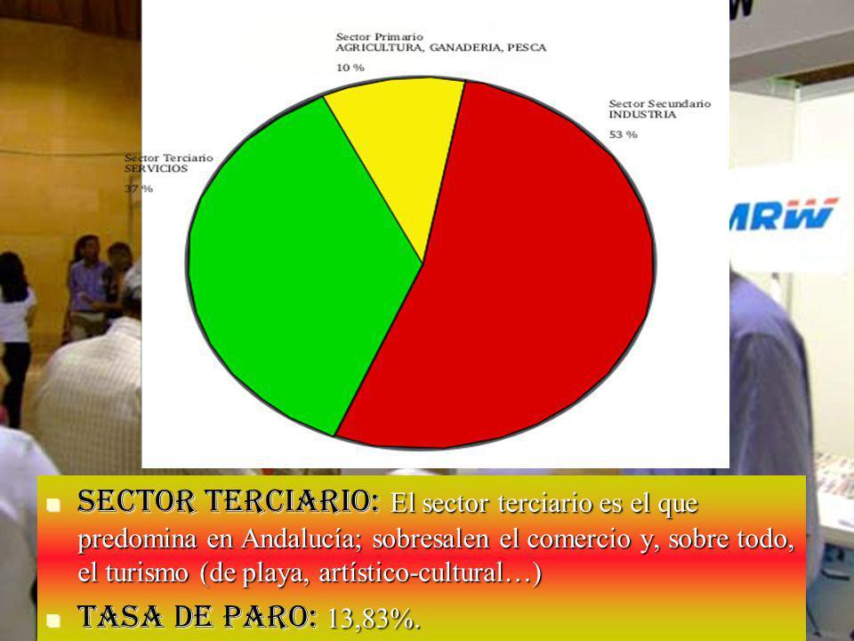 Sector secundario: La industria tiene menor peso y se concentra en las áreas urbanas; destacan el área occidental y Málaga.