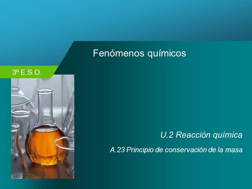 3º E.S.O. Fenómenos químicos U.2 Reacción química A.23 Principio de conservación de la masa