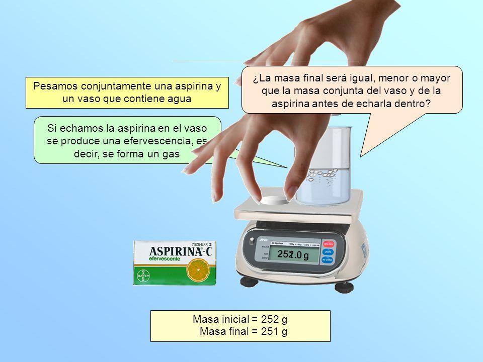 Pesamos conjuntamente una aspirina y un vaso que contiene agua Si echamos la aspirina en el vaso se produce una efervescencia, es decir, se forma un g