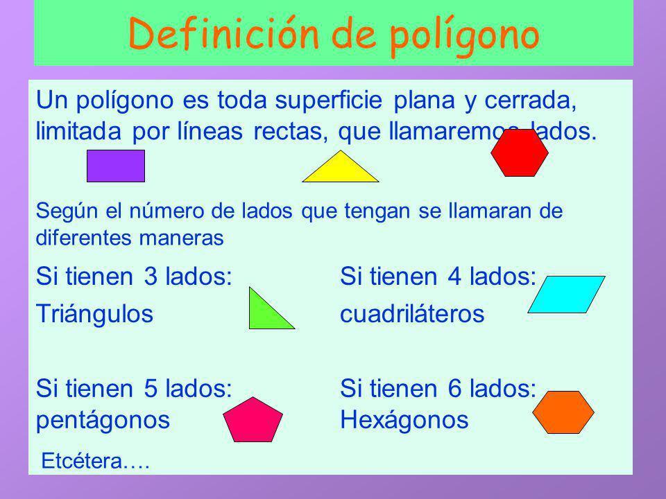 SO2 Definición de polígono Un polígono es toda superficie plana y cerrada, limitada por líneas rectas, que llamaremos lados.
