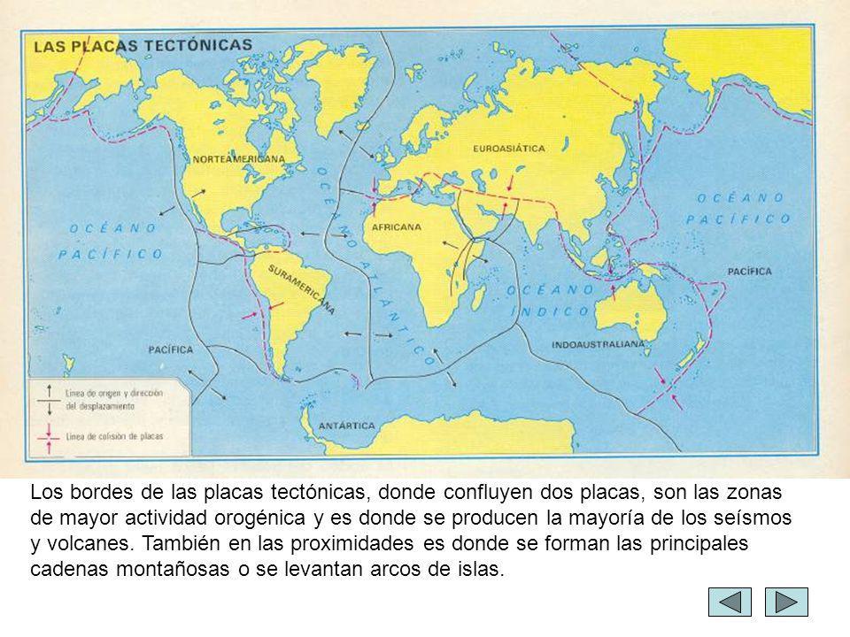 Los bordes de las placas tectónicas, donde confluyen dos placas, son las zonas de mayor actividad orogénica y es donde se producen la mayoría de los s