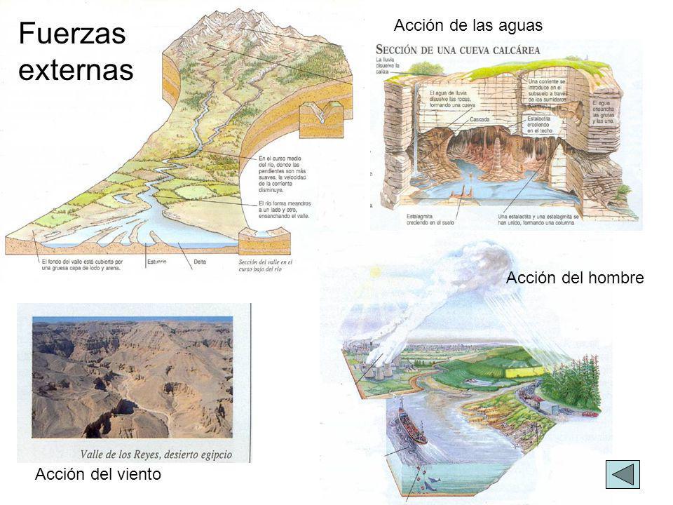 Acción de las aguas Acción del viento Acción del hombre Fuerzas externas