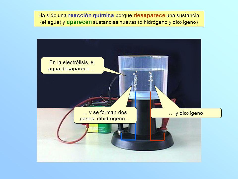 En la electrólisis, el agua desaparece … … y dioxígeno... y se forman dos gases: dihidrógeno... Ha sido una reacción química porque desaparece una sus