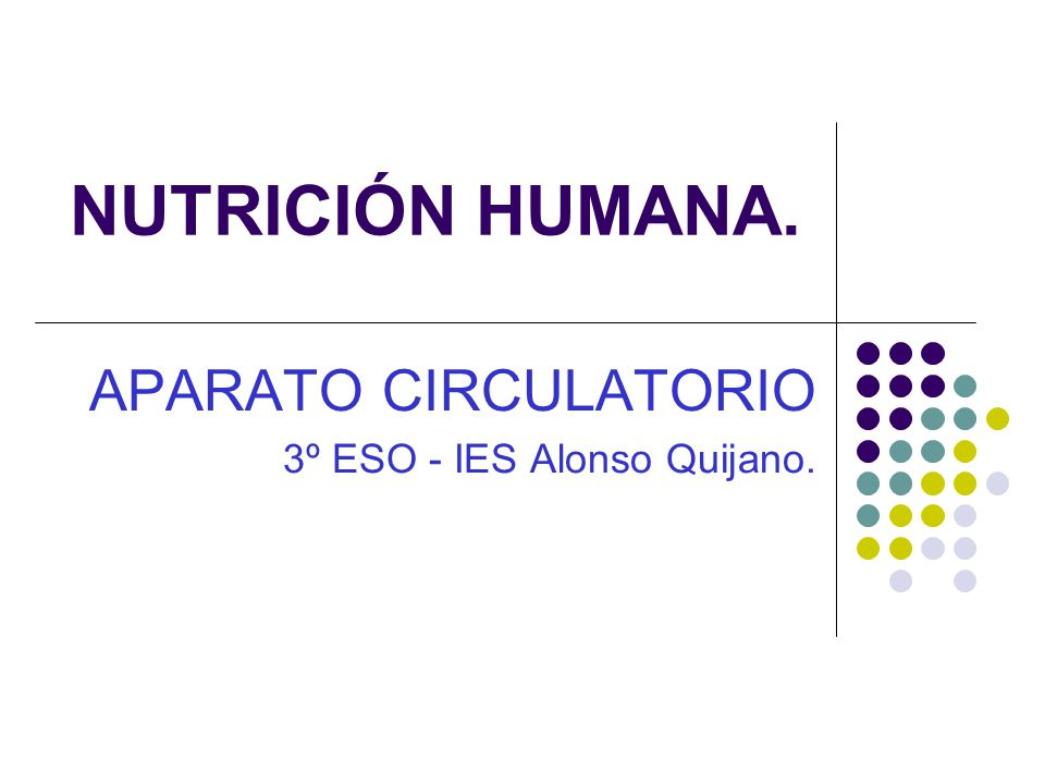 NUTRICIÓN HUMANA. APARATO CIRCULATORIO 3º ESO - IES Alonso Quijano.