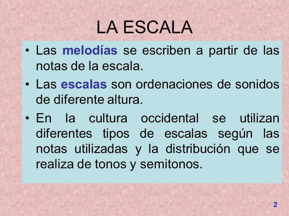 LA ESCALA Las melodías se escriben a partir de las notas de la escala. Las escalas son ordenaciones de sonidos de diferente altura. En la cultura occi