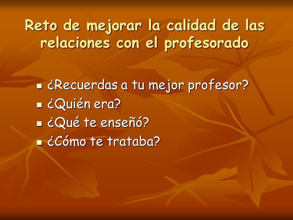 Reto de mejorar la calidad de las relaciones con el profesorado ¿Recuerdas a tu mejor profesor.