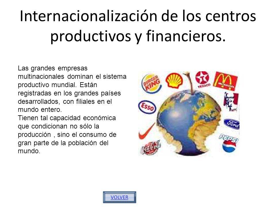 Internacionalización de los centros productivos y financieros. Las grandes empresas multinacionales dominan el sistema productivo mundial. Están regis