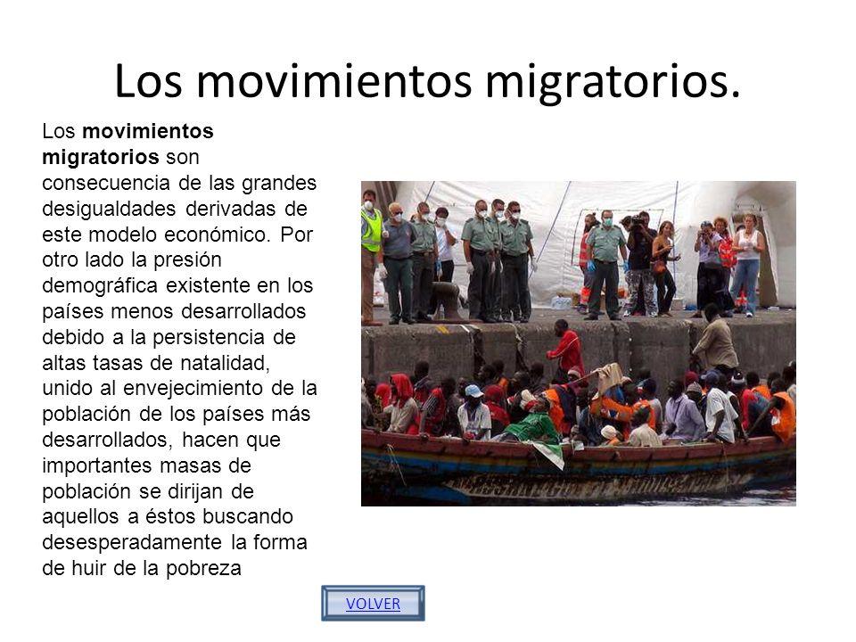 Los movimientos migratorios. VOLVER Los movimientos migratorios son consecuencia de las grandes desigualdades derivadas de este modelo económico. Por