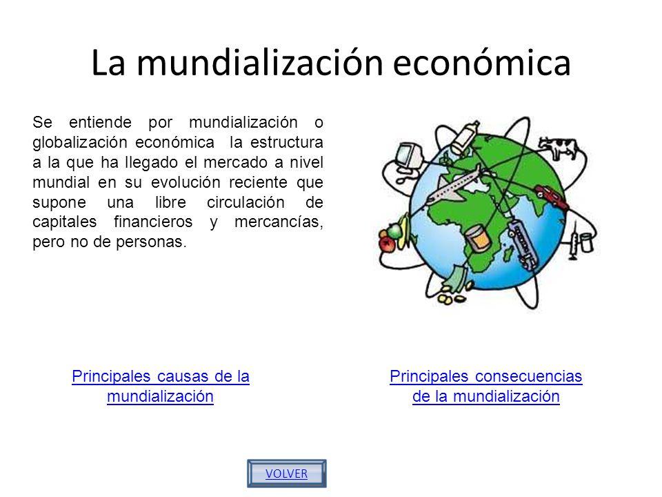 La mundialización económica Se entiende por mundialización o globalización económica la estructura a la que ha llegado el mercado a nivel mundial en s