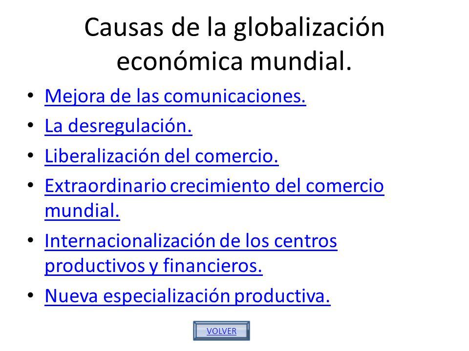 Causas de la globalización económica mundial. Mejora de las comunicaciones. La desregulación. Liberalización del comercio. Extraordinario crecimiento