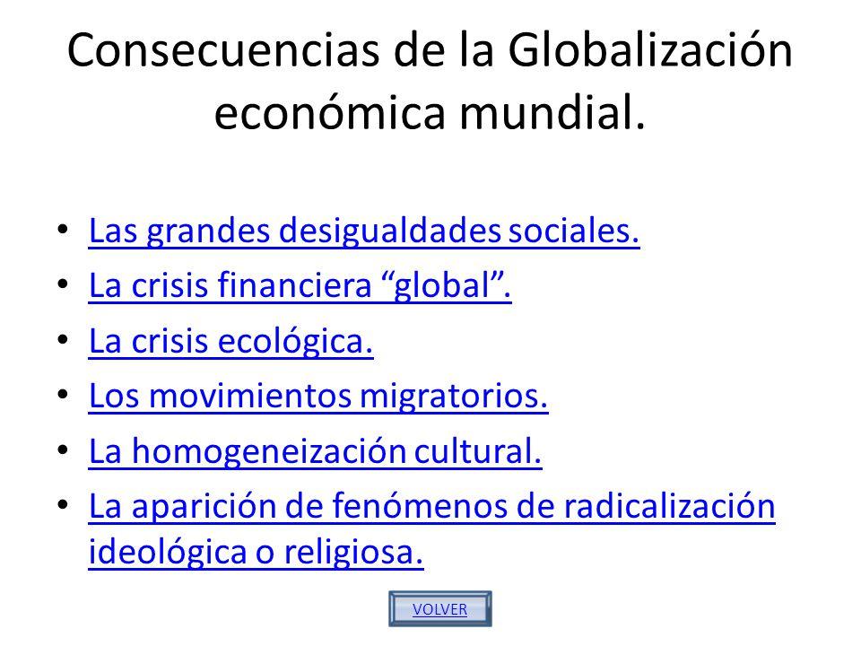 Consecuencias de la Globalización económica mundial. Las grandes desigualdades sociales. La crisis financiera global. La crisis ecológica. Los movimie