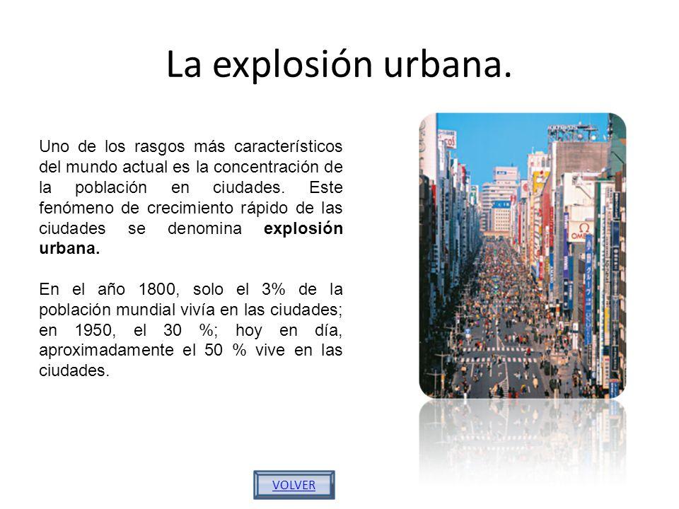 La explosión urbana. Uno de los rasgos más característicos del mundo actual es la concentración de la población en ciudades. Este fenómeno de crecimie