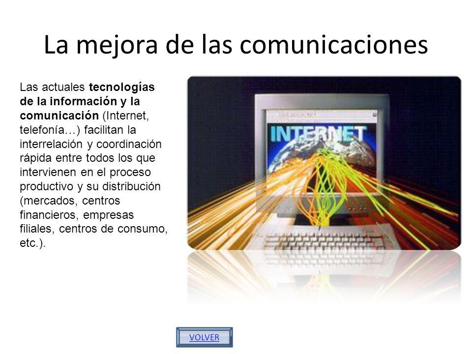 La mejora de las comunicaciones VOLVER Las actuales tecnologías de la información y la comunicación (Internet, telefonía…) facilitan la interrelación