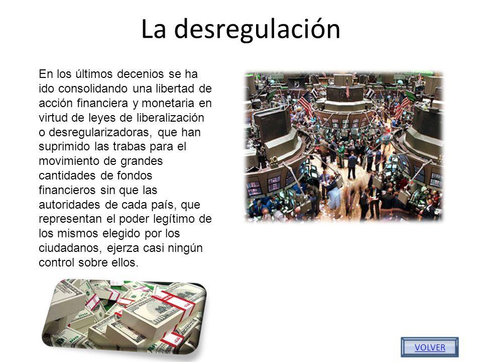 La desregulación En los últimos decenios se ha ido consolidando una libertad de acción financiera y monetaria en virtud de leyes de liberalización o d
